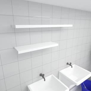 Kit 2 prateleiras lavanderia em MDF sup. Inivisivel branco 1 60x20cm 1 90x20cm modelo pratlvb35