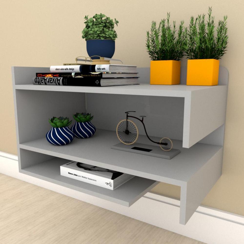 Estante escritório simples com nichos prateleiras em mdf Cinza