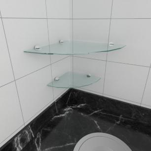kit com 2 Prateleira para canto de vidro temperado para cozinha 1 de 30 cm e 1 de 20 cm