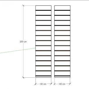 Kit 2 Painel canaletado para pilar preto 2 peças 40(L)x180(A)cm