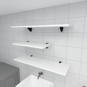 Kit 3 prateleiras lavanderia em MDF suporte tucano branco 1 60x30cm 2 90x30cm modelo pratlvb13