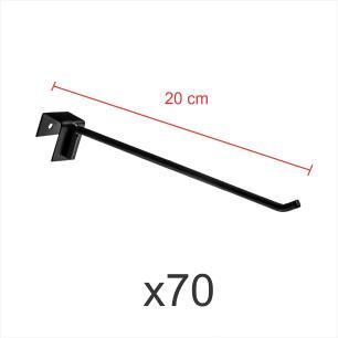 kit para expositor 70 ganchos 4mm preto de 20 cm para gondola para porta gancheira 20x20 e 20x40