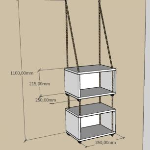 2 prateleiras moderna com cordas, mdf Rustico