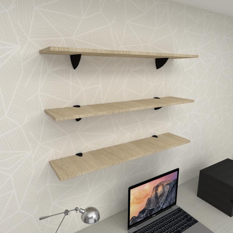 Kit 3 prateleiras para escritório em MDF suporte tucano amadeirado claro 90x20cm modelo pratesamc09