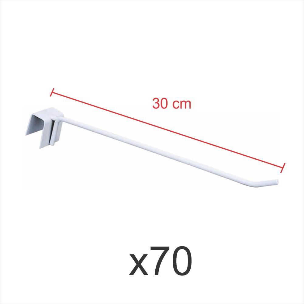 kit para expositor 70 ganchos 4mm branco de 30 cm para gondola para porta gancheira 20x20 e 20x40
