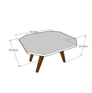 Mesa de Centro octagonal em mdf branco com 4 pés inclinados em madeira maciça cor tabaco