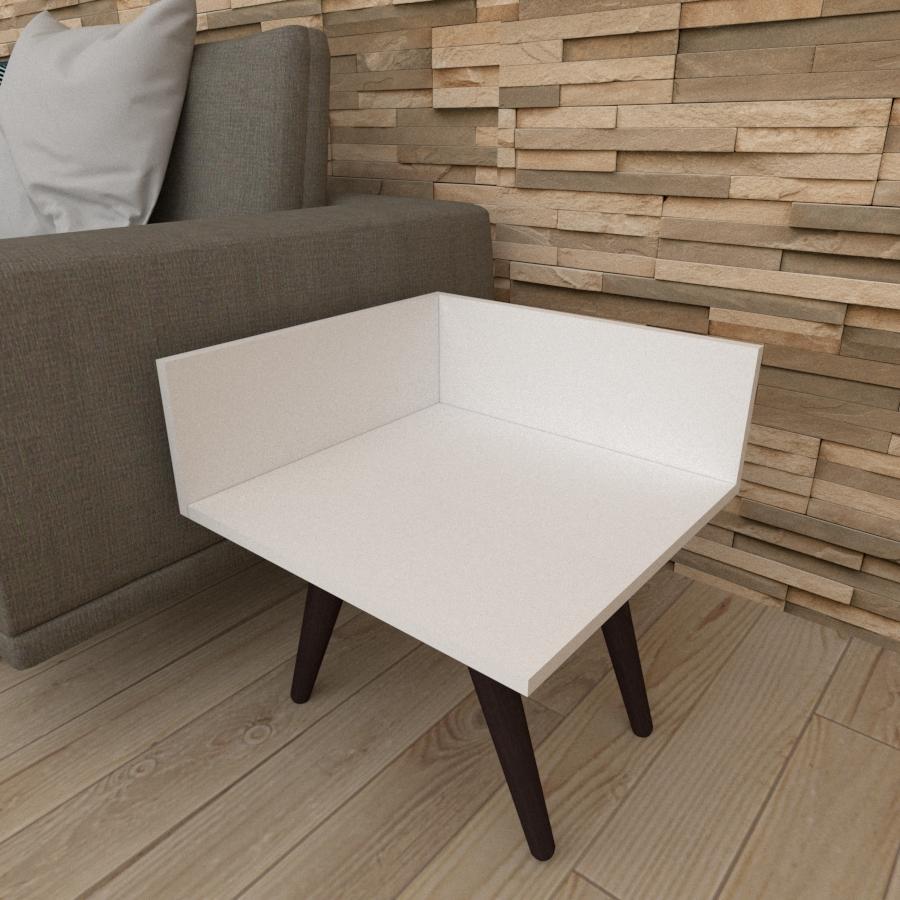 Mesa lateral simples em mdf branco com 4 pés inclinados em madeira maciça cor tabaco