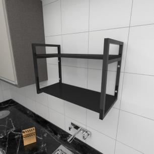 Prateleira industrial para cozinha aço cor preto prateleiras 30cm cor preto modelo ind01pc