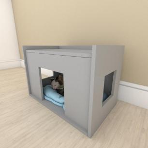 bercinho casinha para Gato em mdf Cinza