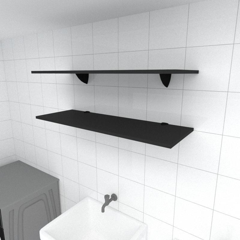 Kit 2 prateleiras para lavanderia em MDF suporte tucano preto 90x30cm modelo pratlvp02