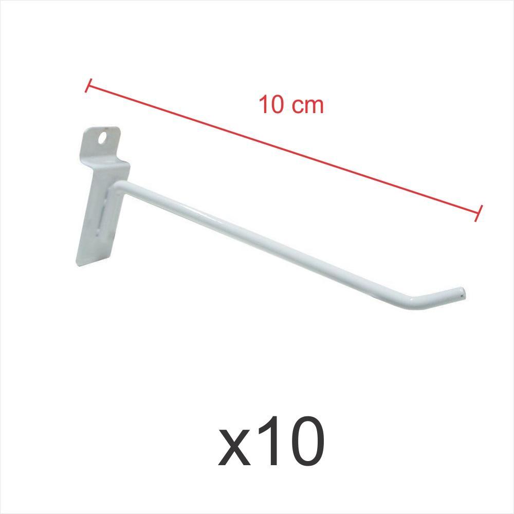 Pacote com 10 ganchos 4mm branco de 10 cm para painel canaletado