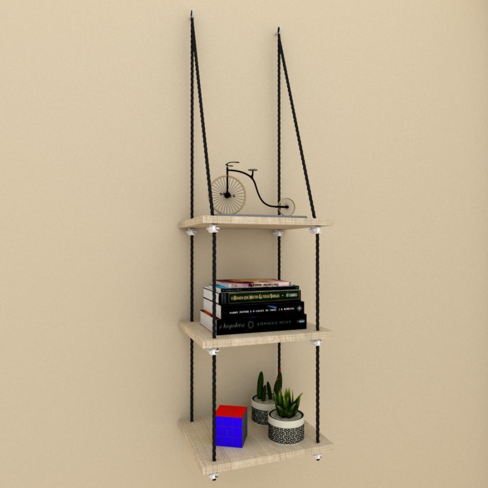 Tres nicho prateleiras moderna com cordas, mdf Amadeirado claro