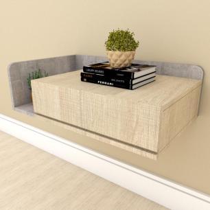 Mesa de cabeceira moderna amadeirado claro com rustico