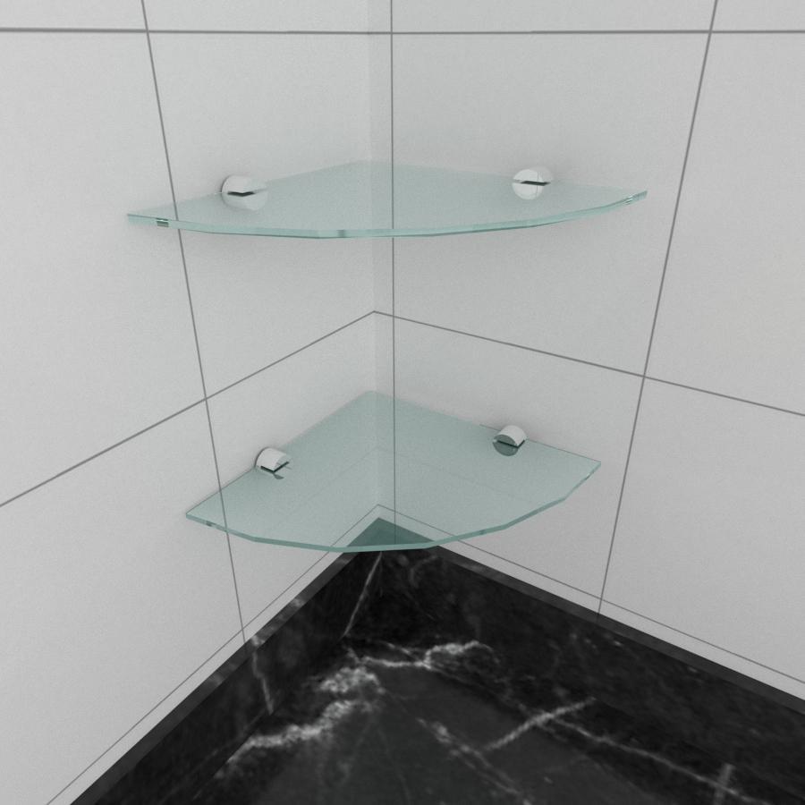 kit com 2 Prateleira para canto de vidro temperado para cozinha profundidade 20 cm