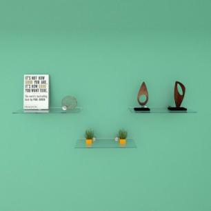 Kit com tres Prateleira para sala 30 cm vidro temperado