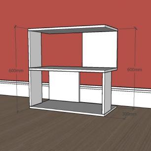 Estante escritório formato S slim em mdf Cinza