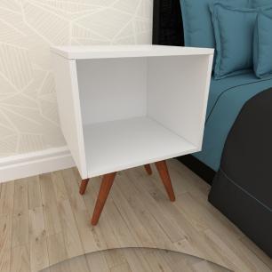 Mesa de Cabeceira moderna em mdf branco com 4 pés inclinados em madeira maciça cor mogno