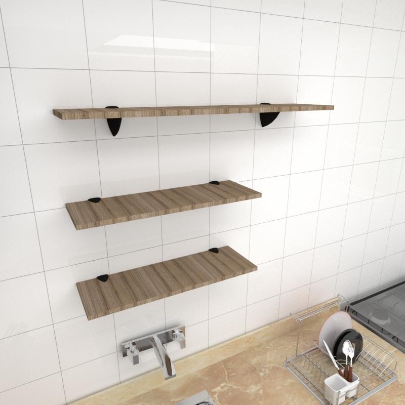 Kit 3 prateleiras cozinha MDF suporte tucano amadeirado escuro 2 60x20cm 1 90x20cm mod pratcame18