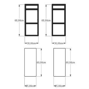 Mini estante industrial para sala aço cor preto prateleiras 30 cm cor branca modelo ind08beps