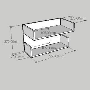 Mesa de cabeceira suspensa com duas prateleiras em mdf branco