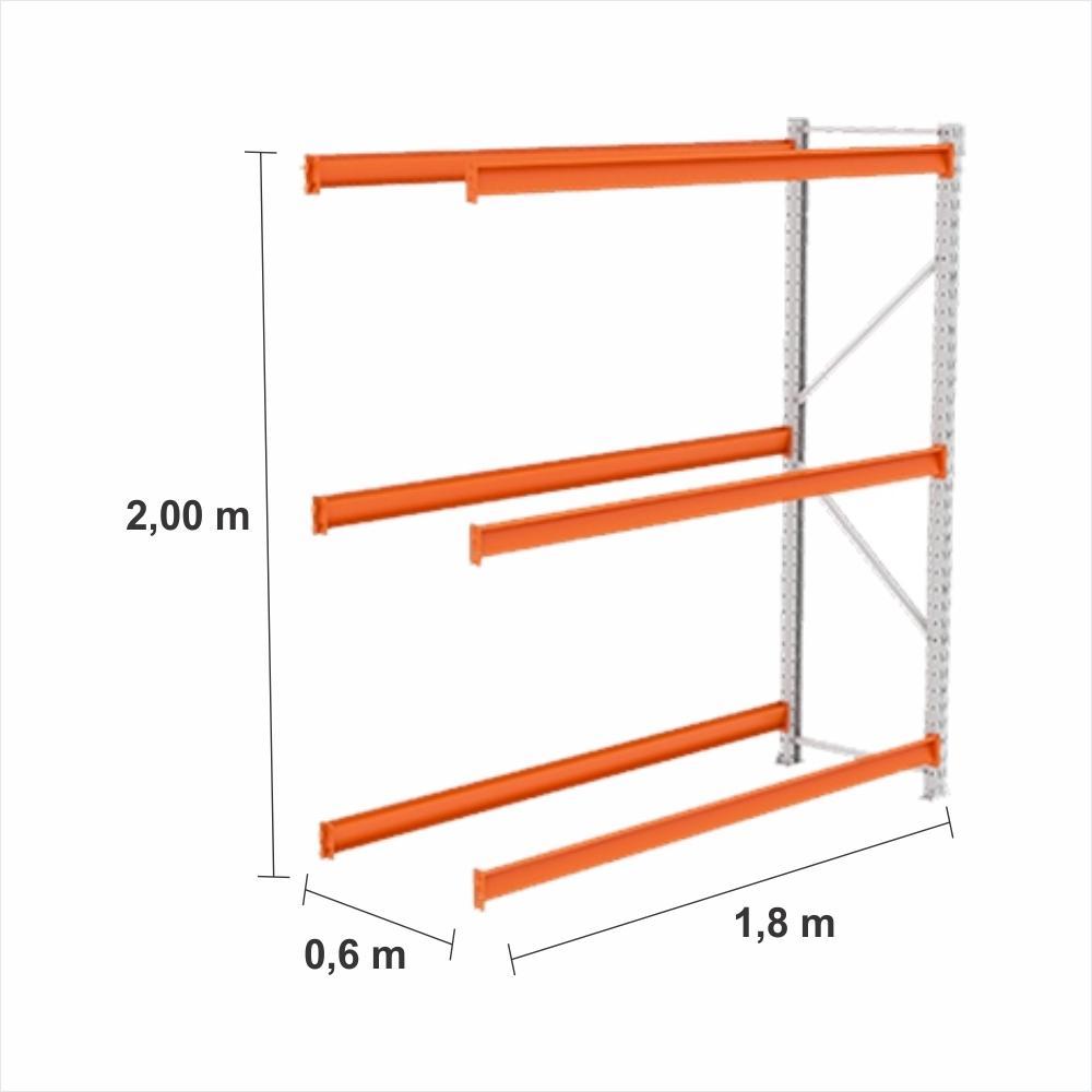 Expositor Mini Porta Pallet cont 250KG Com 3 niveis 2,00X1,80X0,60 Sem Bandeja