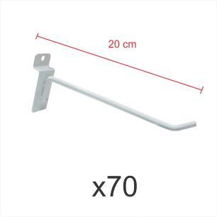Pacote com 70 ganchos 4mm branco de 20 cm para painel canaletado