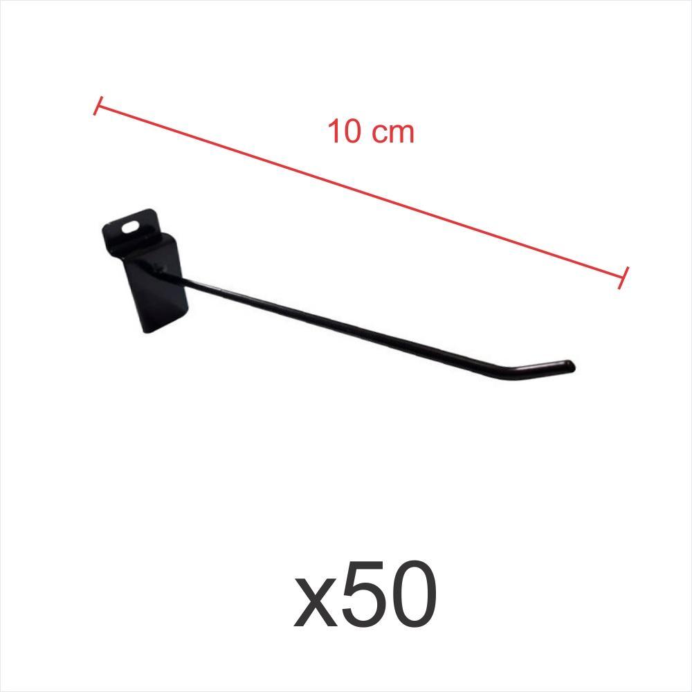 Kit com 50 ganchos 4mm preto de 10 cm para painel canaletado