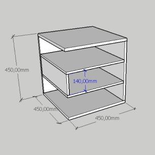 Mesa de cabeceira minimalista com nichos em mdf amadeirado