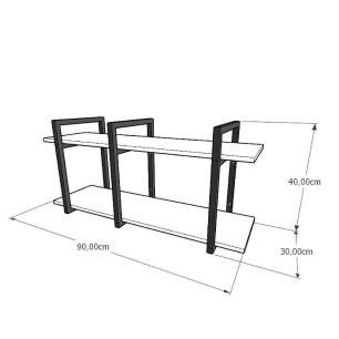 Aparador industrial aço cor preto mdf 30 cm cor amadeirado claro modelo ind20acapr