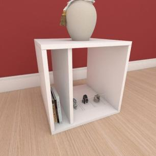 Mesa de cabeceira moderna com prateleiras em mdf branco