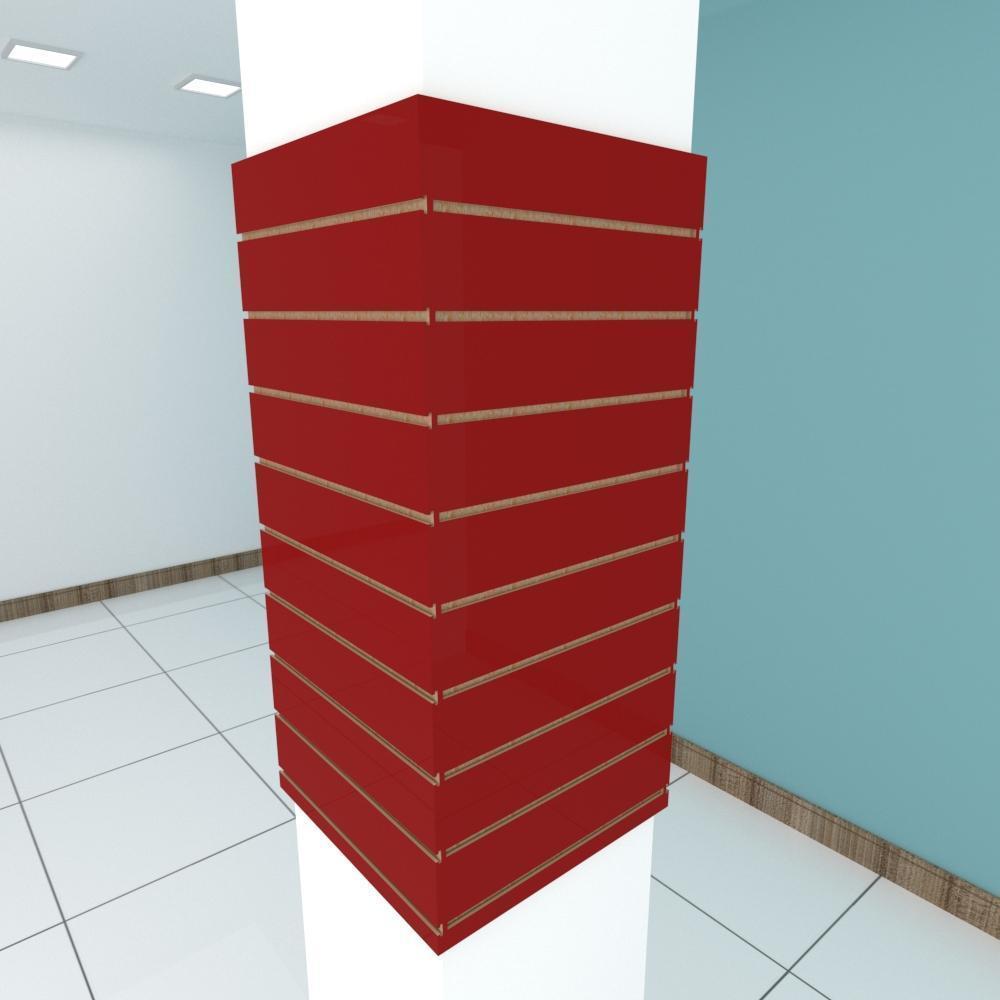Kit 4 Painel canaletado para pilar vermelho escuro 2 peças 54(L)x120(A)cm + 2 peças 50(L)x120(A)cm