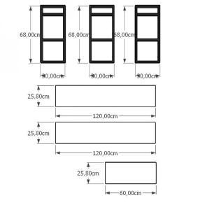 Aparador industrial aço cor preto prateleiras 30cm cor branca modelo ind14bapr