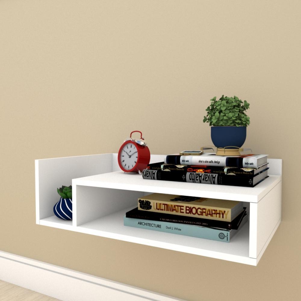 Estante escritório minimalista com nichos em mdf Branco