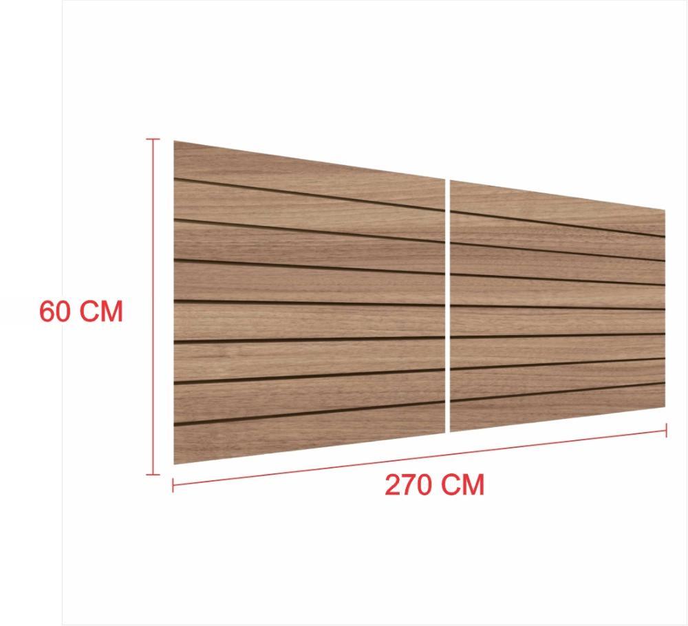 Painel canaletado 18mm amadeirado escuro altura 60 cm comp 270 cm