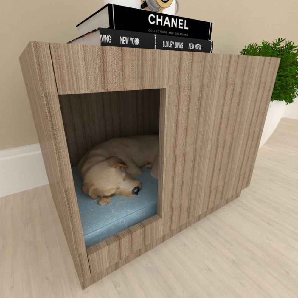 A01 casinha de cachorro medio grande cor Amadeirado escuro
