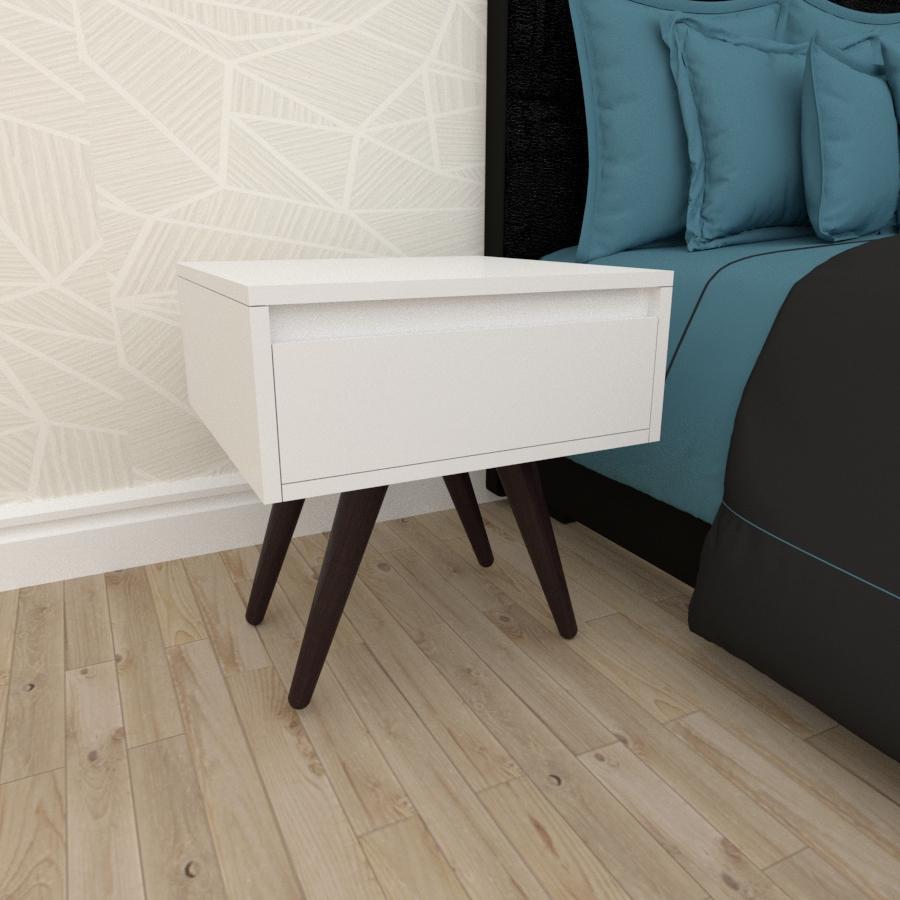 Mesa de Cabeceira com gaveta em mdf branco com 4 pés inclinados em madeira maciça cor tabaco