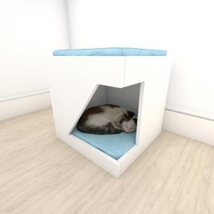 caminha bercinho para Gato em mdf Branco