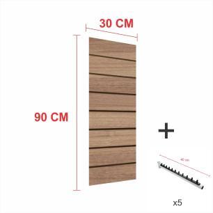 Expositor canaletado amadeirado alt 90 cm comp 30 cm mais 5 ganchos rt 40 cm para roupas
