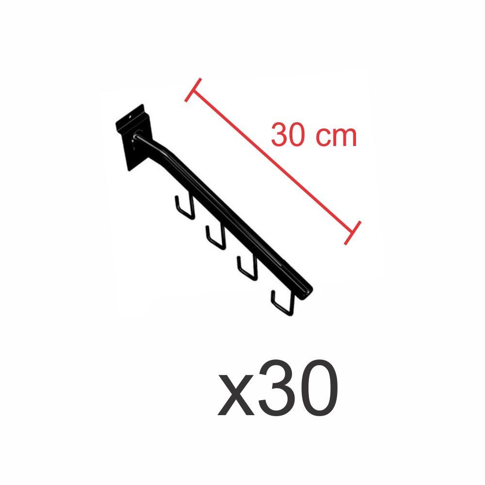 kit para expositor com 30 ganchos rt para bolsas e cintos preto de 30 cm para painel canaletado
