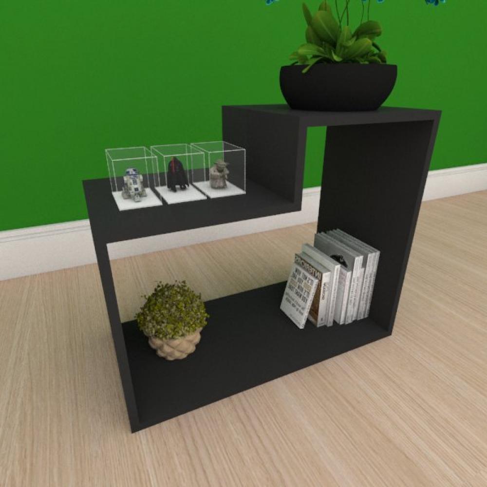 Mesa de cabeceira moderna simples com nichos em mdf preto