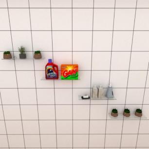 Kit com quatro Prateleira para lavanderia 40 cm vidro temperado