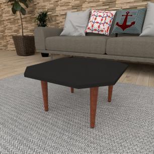 Mesa de Centro octagonal em mdf preto com 4 pés retos em madeira maciça cor mogno