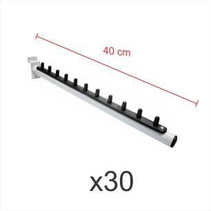 kit para expositor com 30 ganchos rt para roupas branco de 40 cm para painel canaletado