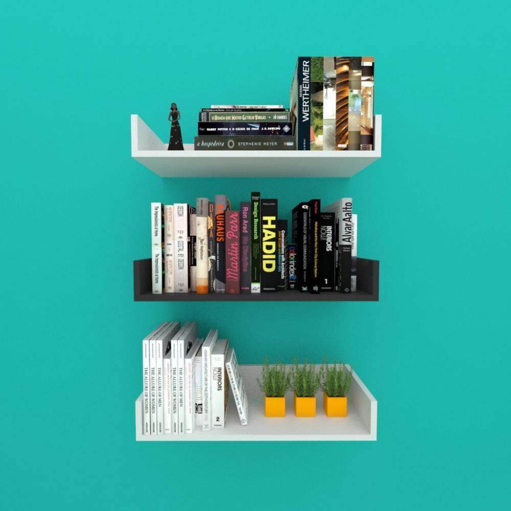 Estante de Livros nichos modernos, em mdf 50x20 cinza com preto