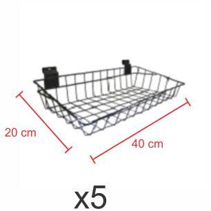 kit para expositor com 5 Cestos para painel canaletado 20x40 cm preto