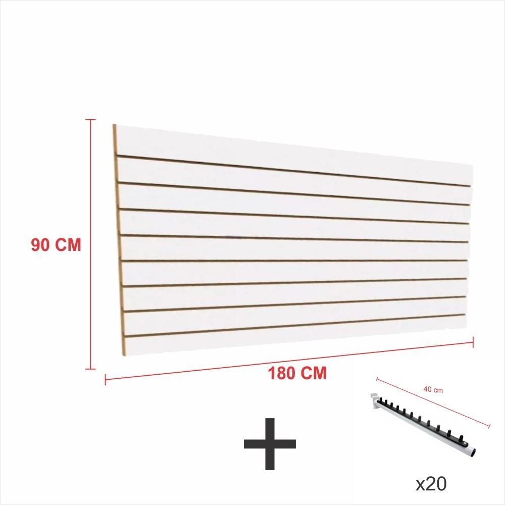 Expositor canaletado branco alt 90 cm comp 180 cm mais 20 ganchos rt 40 cm para roupas