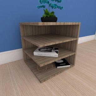 Mesa Lateral simples com prateleiras em mdf amadeirado