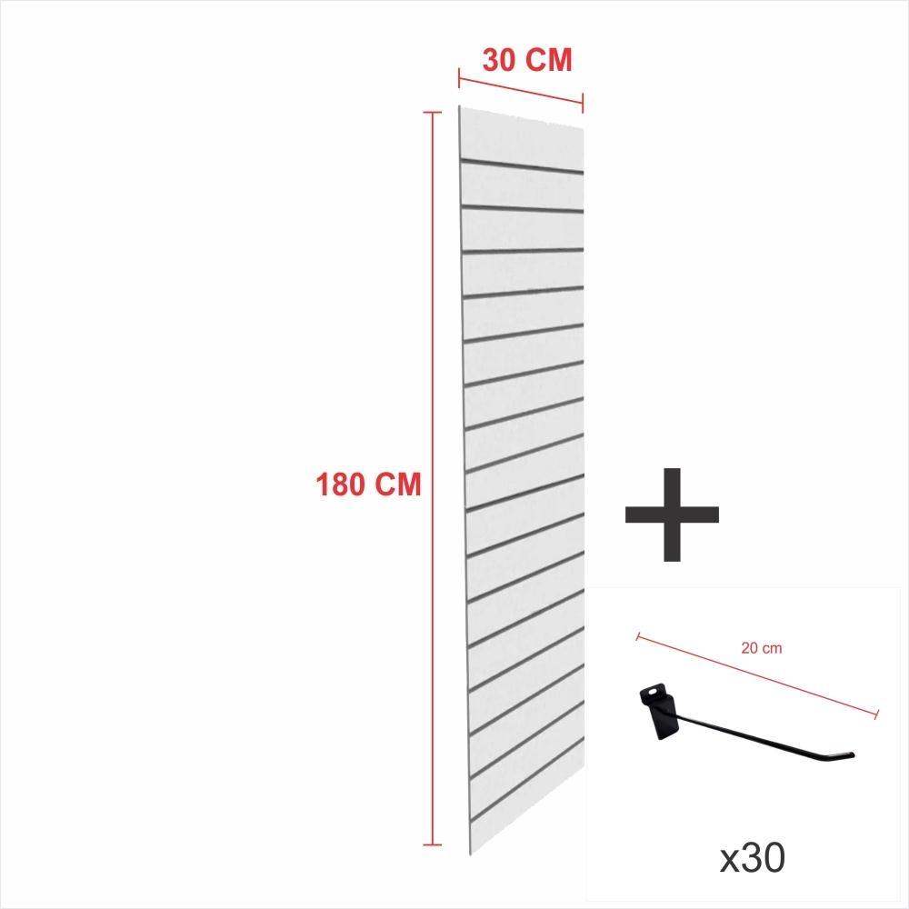 Painel com ganchos cinza alt 180 cm comp 30 cm mais 30 ganchos 20 cm