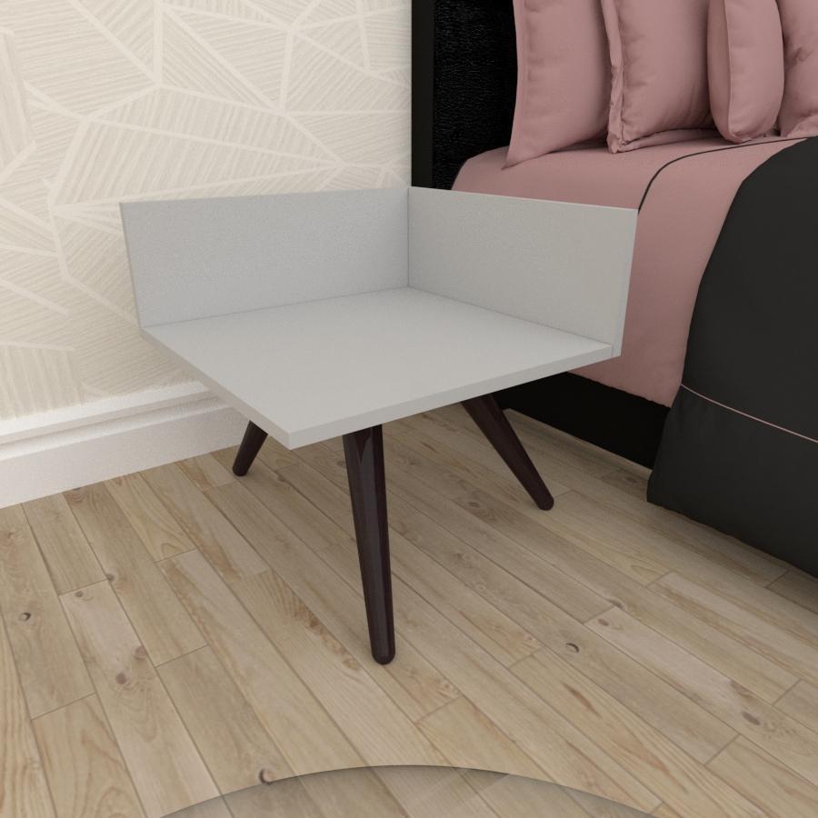 Mesa de Cabeceira simples em mdf cinza com 3 pés inclinados em madeira maciça cor tabaco