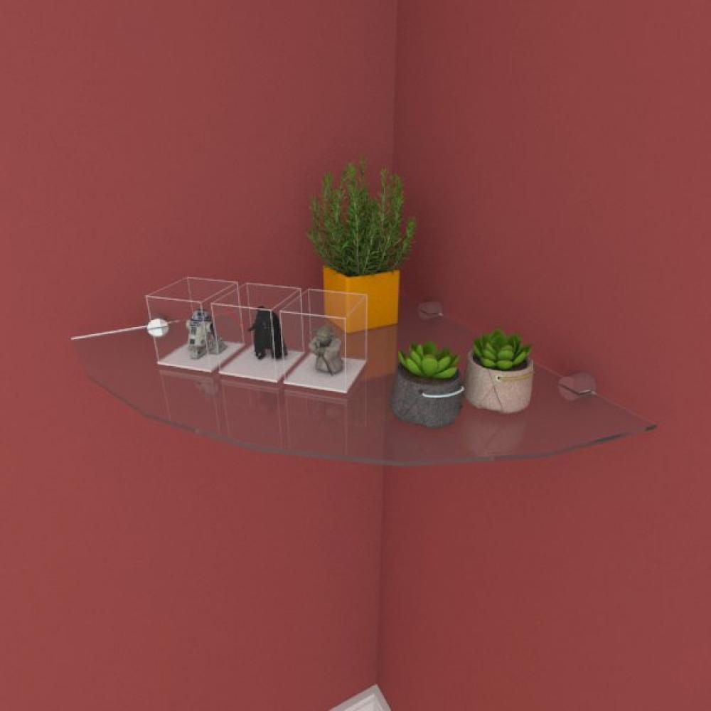 Kit com uma Prateleira para escritório de canto 40 cm vidro temperado